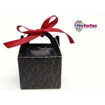 100 Mini Caixa Caixinha Papel Preto Marmorizado Lembrancinha