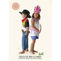 Disfraz Chaleco Indio- Cowboy Para Pintar-niños Y Niñas