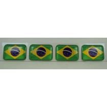 Bandeira Resina Brasil Tarjeta Adesivo Placa 2,3x1,6cm