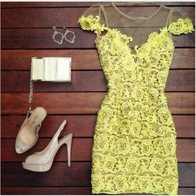 Vestido Tubo Amarelo Renda Guipir