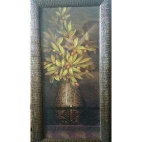 Cuadro Rectangular Flores Marco Trabajado Con Vidrio