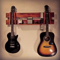 Rack Suporte Guitarra Violão Madeira Rústico Demolição