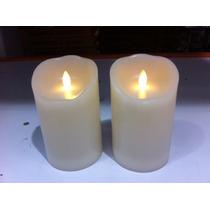 2 Velas De Cera Decorativas Con Llama Simulada, De Pilas
