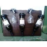 Botellero 3 Botellas Vino 4 Copas Artesanal Mdf Hierro