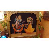 Cuadro Pintado A Mano De Krishna Y Radha, Marco De Estaño