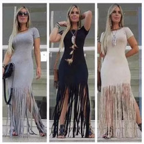 Vestidos Femininos Maxi Fenda Franja Franjinhas Panicat