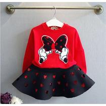 Conjunto Para Niña, Minnie Mouse, Sudadera Y Falda