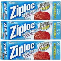 Ziploc Congelador Bolsa, Pinta, 20-count (paquete De 3)