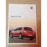 Folheto Folder Ficha Técnica Vw Golf Gt 2.0 Modelo 2010