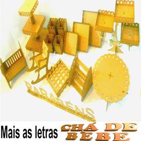 Kit Festa Provençal Decoração Chá De Bebê Mdf Cru