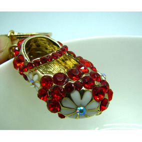 Llavero Con Cristales Swarovski Zapatito Rojo