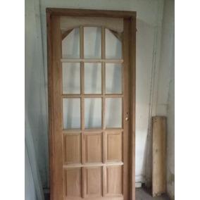 puerta de madera vidrio tableros x nueva