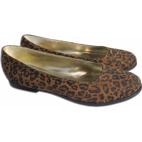 Calzados O Zapatos De Mujer Chatitas Gamuzadas Animal Print