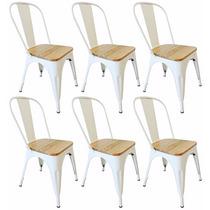 Kit 6 Cadeiras Tolix Metal / Madeira C/ Mesa Café Grátis
