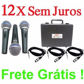 Kit 3 Microfones Pro Bt58a Cabos+cachimbos+ 2 Pedestais Ibox
