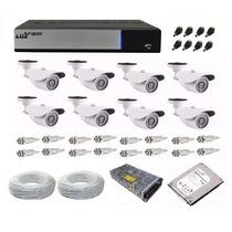 Kit Cftv Dvr Ahd-m Luxvision 8 Ch + 8 Câmera 1.3 Mp + Hd 1tb