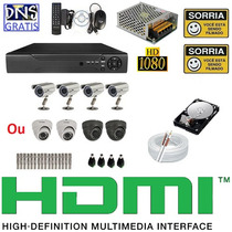 Kit 4 Cameras Infravermelho Ccd Sony Dvr 4 Canais D1 Com Hd