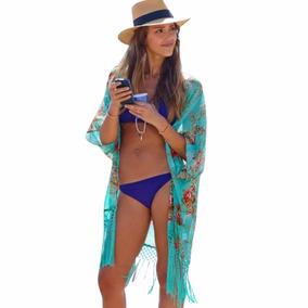 Kimono Feminino Cardigan Verão Franja Saída Praia Piscina