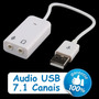 Placa De Som Usb 7.1 Branco Notebook Pc Adaptador Audio 3d