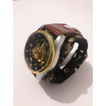 Reloj Steampunk Automatico Cuero Squeleton Envío Gratis