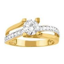 Solitário Com Diamantes Em Ouro Amarelo 18k!! Linda Jóia!