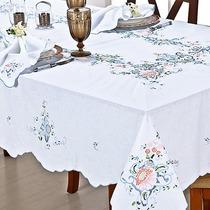 Toalha De Mesa Em Richelieu E Crivo Bordada A Mão 2,50x1,60m