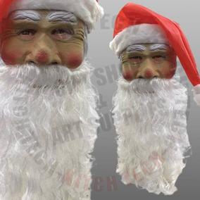 Mascara Latex C/ Pelo Y Gorro Papa Noel Navidad Disfraz