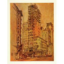 Lienzo Tela Dibujo Rascacielos New York 1909 65x50 Edificio