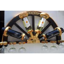 Bodega De Pared .para 4 Botellas Y 6 Copas