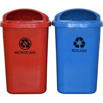 Kit 2 Lixeiras Coletor Parede Reciclável E Não Reciclavel