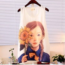 Camiseta Romântica - Menina Com Girassol - Pronta Entrega