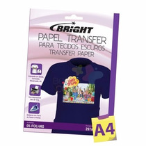 Kit 80 Folhas Papel Transfer Dark P/ Tecidos Escuros Bright