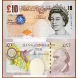 Billete De 10 Libras Esterlinas De Gran Bretaña. 2000.darwin