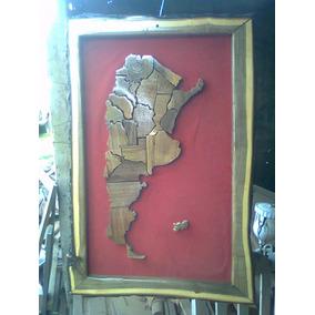 Cuadro Mapas De Argentina En Madera De Algarrobo Artesanales