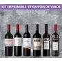 Kit Imprimible Etiquetas Vinos