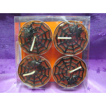 Velas Tealight Halloween Set 4 Decorativa Dia Muertos