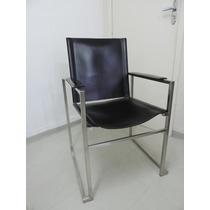 Cadeiras Aço Inox Com Assento Em Couro