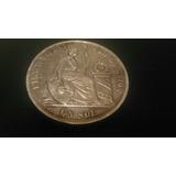 Antiguo Prendedor Moneda Sol Peruano 1869