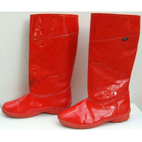Toot Botas Lluvia 34 Charol Abrigo Rojo Manchadas -ana.mar