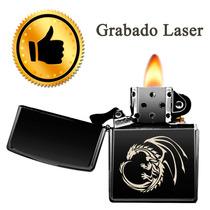 Encendedor Tippo Zipp O Negro Mate Con Grabado Laser