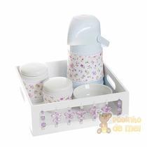 Kit Higiene Menina Porcelana Bandeja Borboletas Lilás Bebê