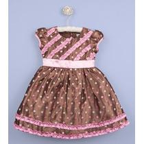 Vestido De Festa Marrom E Rosa 2 Anos Promoção!!!