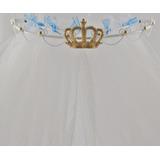 Dossel Rei Coroa + Véu Cortinado Provençal Arabesco 50x25cm