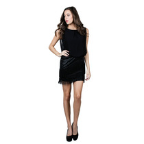 Mini Vestido Ark & Co. De Coctel Con Falda De Flecos