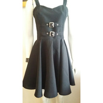 Vestido Metal Rock Dark Con Hebillas.