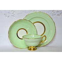 Trio De Te Porcelana Hammersley England Verde Claro Oro