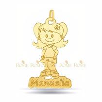 Pingente Menina Filhos Personalizado Em Ouro 18k