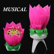Vela Musical Flor Para Pastel De Cumpleaños Rosa Fiesta