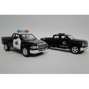 Camionetas Da Polícia - Kit Com 2 Miniaturas Dodge Silverado