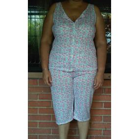 Pijamas Plus Con Botones Y Cerradas En Algodon Para Damas